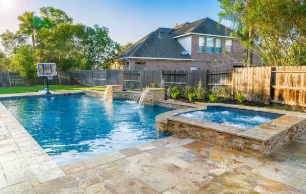 Pool with Spa, Outdoor Kitchen, and Fire Pit